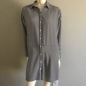 H&M Divided Black White Striped Tunic Long Sleeve
